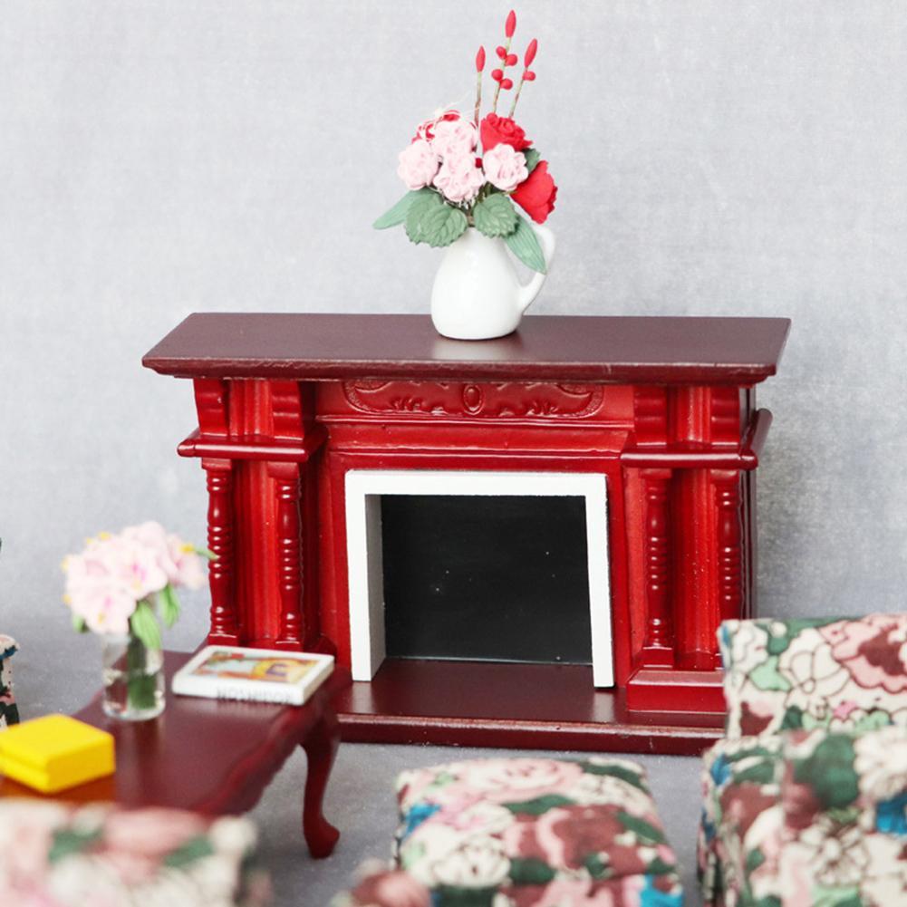 112 casa de bonecas em miniatura móveis sala de madeira do vintage vermelho lareira boneca casa acessórios brinquedos para crianças presente