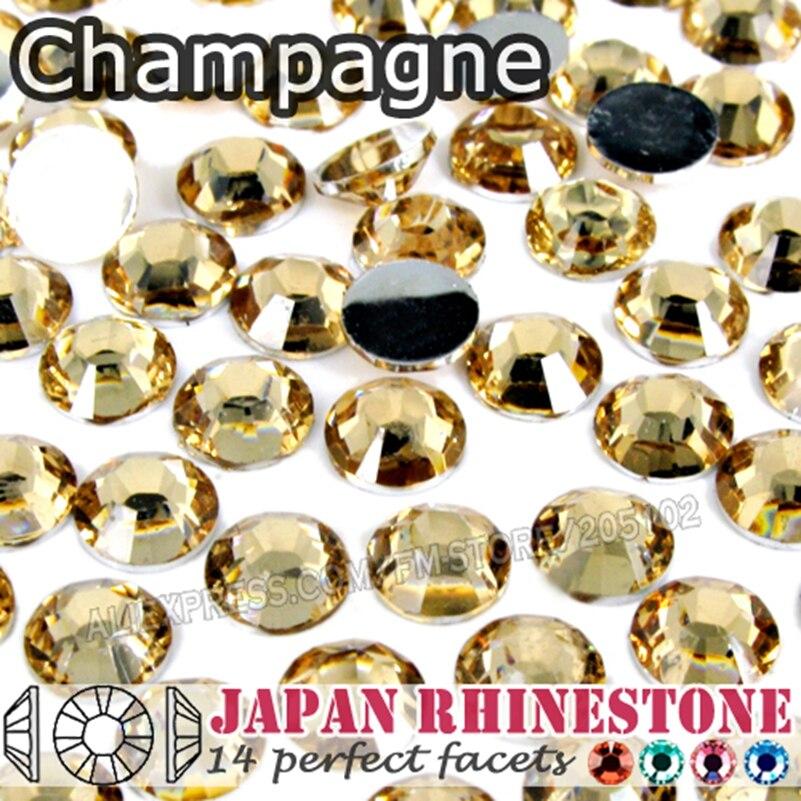 Champagne ongles cristaux strass SS16 SS20 SS30 résine Non Hotfix plat dos pierres paillettes pour colle sur ongles Art