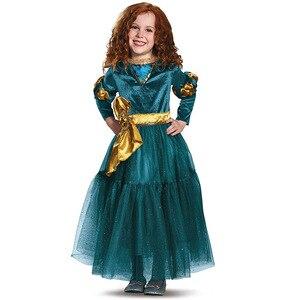 Brave Legend of Merida Girl Princess Cosplay New Year Christmas Dark Blue Dress Performance Holiday