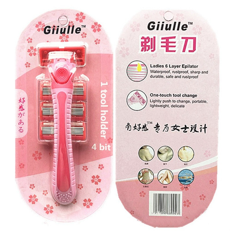 Female Body Hair Shaver Set 1PC Knife Holder + 3PCS 6-Layer Blades Hair Removal Shaving Machine