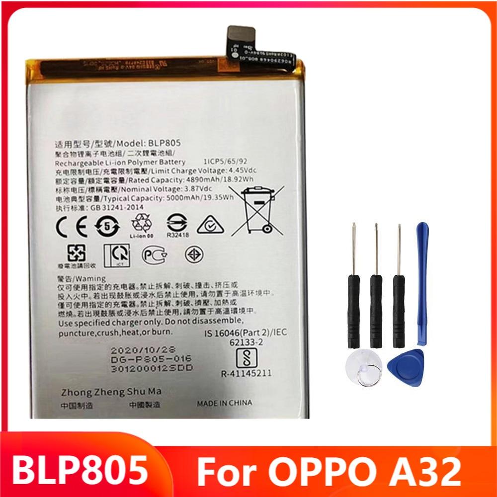 Оригинальный запасной аккумулятор BLP805 для OPPO A32, оригинальные аккумуляторные батареи 5000 мАч с бесплатными инструментами