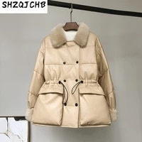shzq waist closed large pocket work clothes leather down jacket leather jacket female mink fur collar coat new style