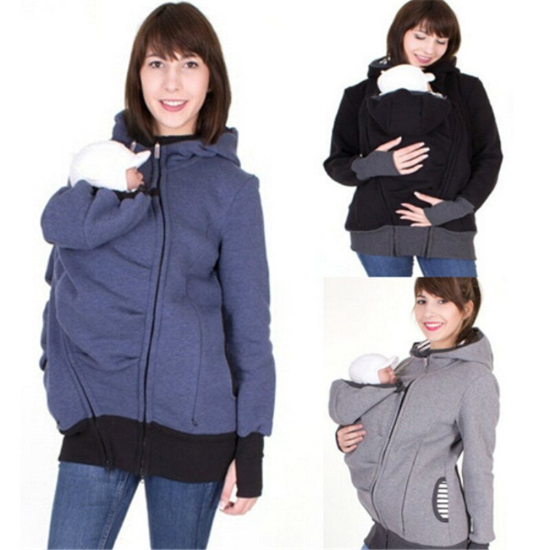 S-2XL Three-in-one More Function Kangaroo Even Hat Mom Sweater Hoodie Maternity Pregnant Winter Clothes Embarazada Tops enlarge