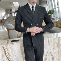 mens wedding tuxedos spring double breasted stripe three piece suits new stripe suit business male formal professional suit