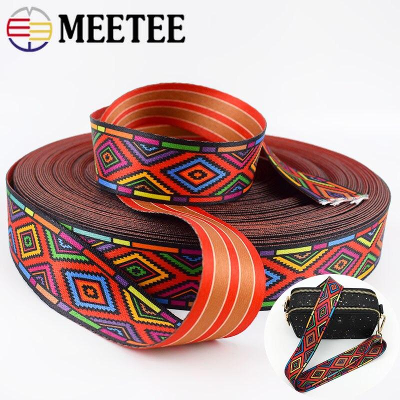 5 metros 38mm moda estampado étnico Jacquard cinchas bolsos Correa cinturón cinta DIY textil ropa cinturón decoración coser accesorio