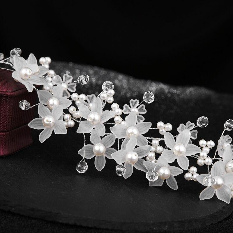Novia coreana Tiara diadema artesanal pétalos de cuentas de cristal acrílico blanco perla pelo Barrettes mujer boda Accesorios