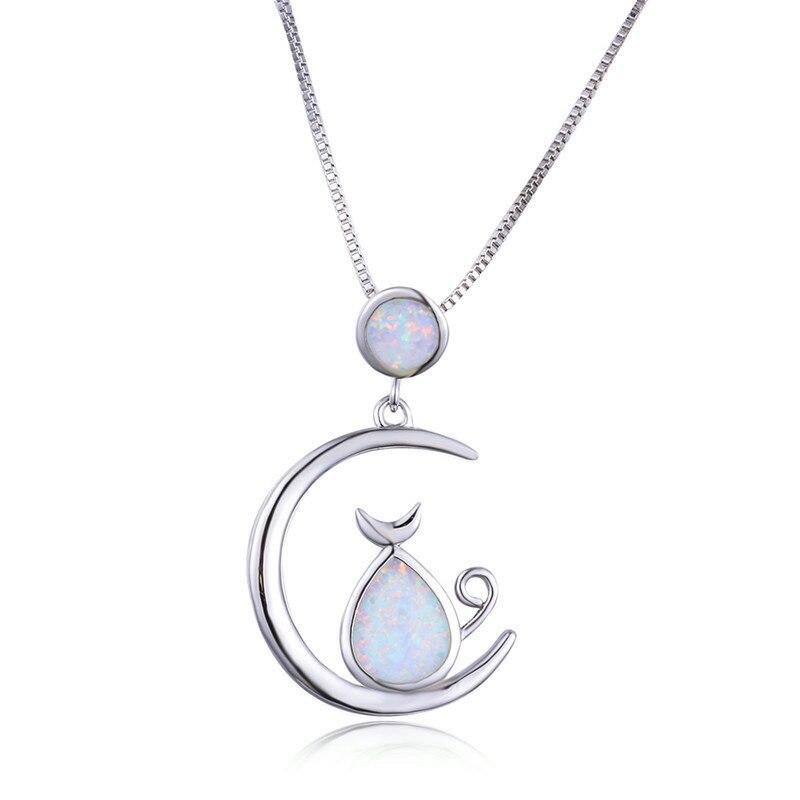 Boho Female Big Cat Moon Pendants Necklaces Silver Color Wedding Necklaces For Women Boho White Blue Fire Opal Necklace