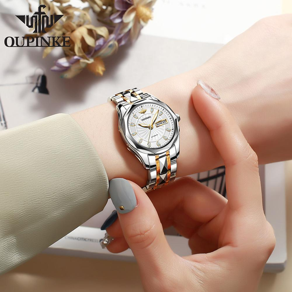 OUPINKE Top Luxury Brand Women Automatic Mechanical Watch Masonry Grade Waterproof Stainless Steel Watchstrap Women Wristwatch enlarge