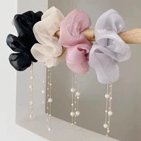 japan and south korea new tassel large intestine hair ring girl ball head rope rubber band coil hair pendant pearl hair rope