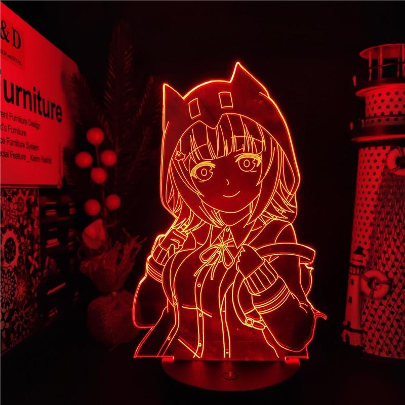 Anime Figures Danganronpa 2 Chiaki Nanami Trigger Happy Havoc 3D Led Girl Toys Action Figural Collection Table Desk Led Juguetes