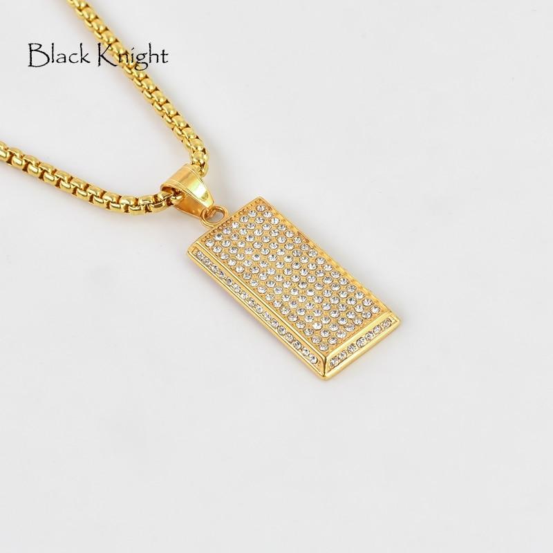 Bling full strass oro ladrillo colgante collar color oro Acero inoxidable barra dorada collar rapero dancer rendimiento