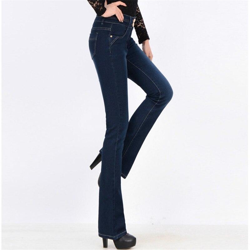 mais tamanho feminino estiramento magro denim flares calcas da mae cintura alta calcas
