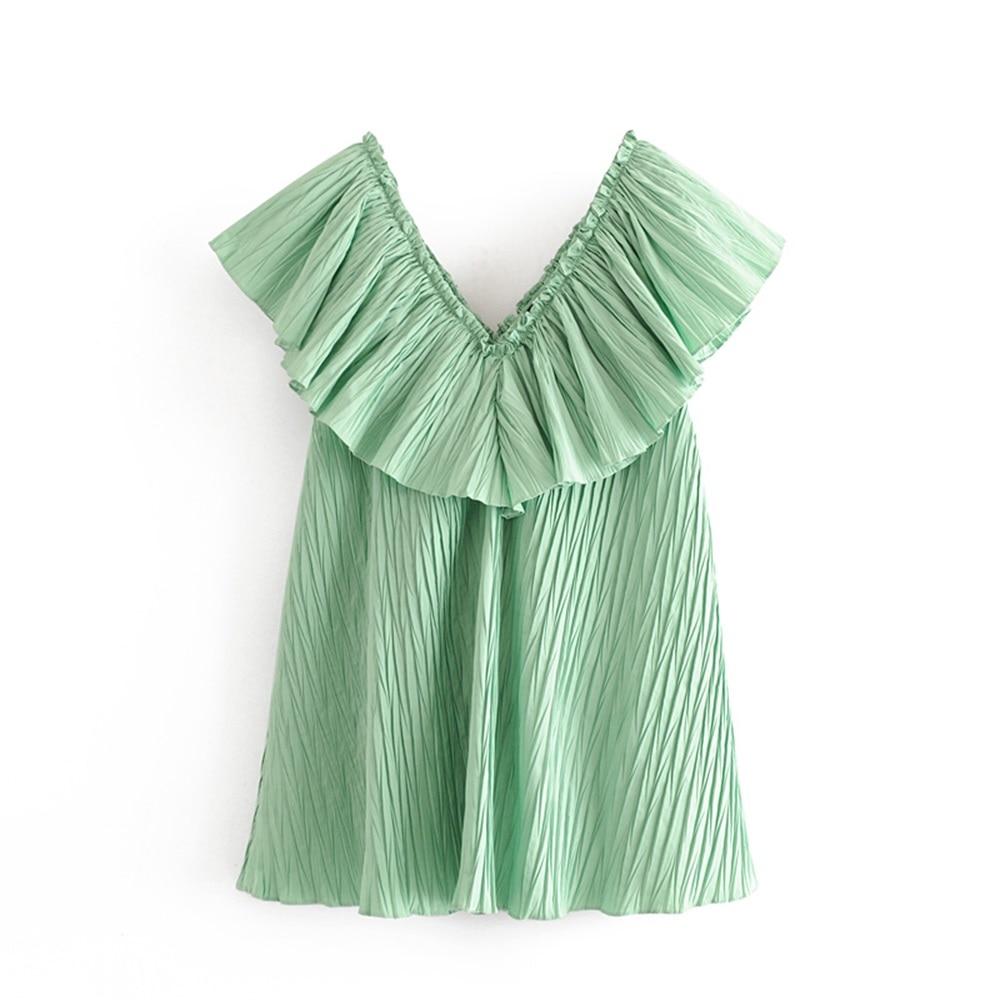 Весна-лето 2020, новое короткое платье без рукавов с v-образным вырезом, многослойное свободное мини-платье с оборками