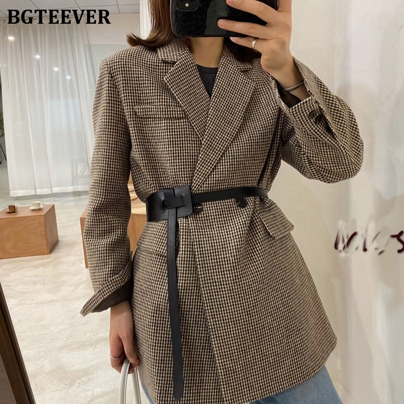 BGTEEVER Autumn Winter Vintage Houndstooth Woolen Blazer Jackets for Women Double Breasted Belted Slim Female Outwear 2020