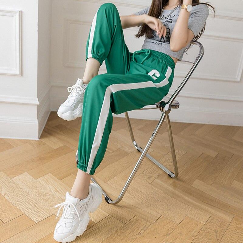 Casual Pants C Printed Loose Trousers Women Elastics High Waist Summer Vintage Harajuku Joggers Sweatpants Stripe 2021