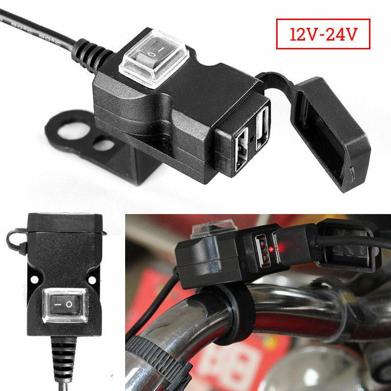 2020 nuevo impermeable Dual USB 12V motocicleta cargador para manillar Socket w/Switch & montajes cargador de Moto