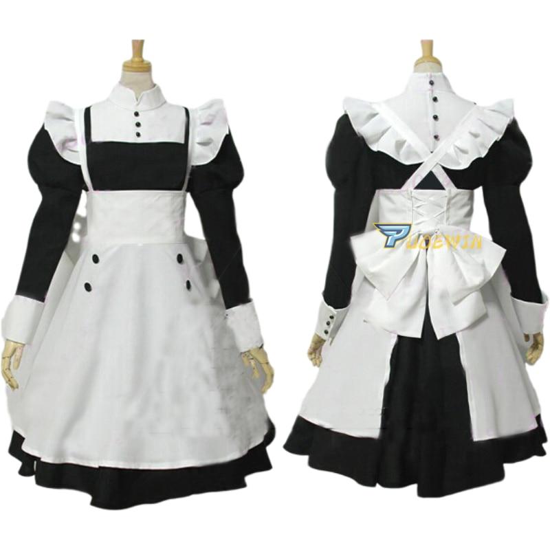 Anime Black Butler Mey Rin Maid Cosplay Costume Cute Girl Long Lolita Dress Vintage Bowknot Falbala Dress