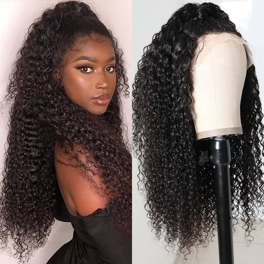 34 Inches Jerry Curly Lace Frontal Wig 250% 13x4 Lace Front Wig Brazilian Virgin Transparent Lace Human Hair Wig Kinky Curly Wig