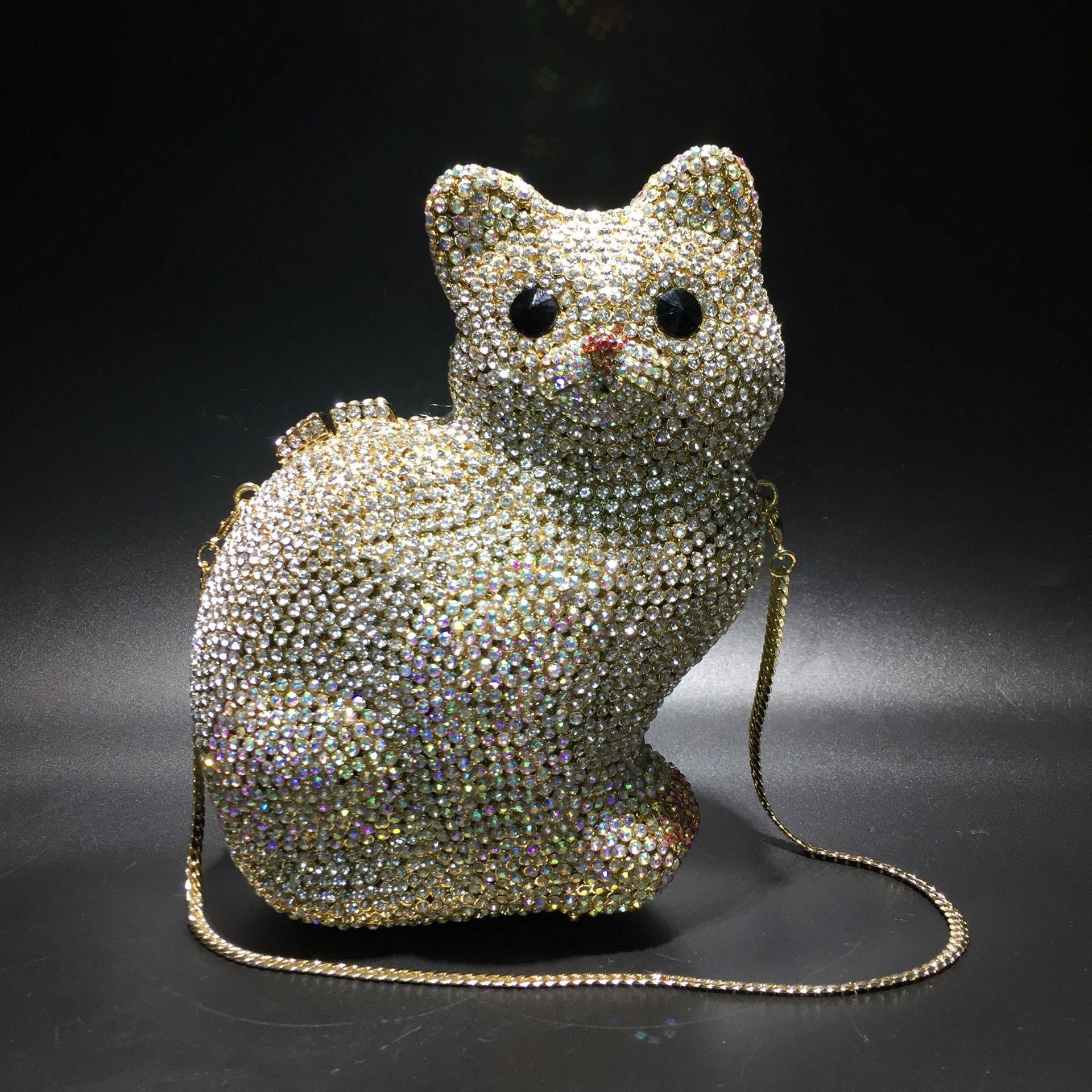 حقيبة يد نسائية من الكريستال الماسي ، 14 × 18 سنتيمتر ، هريرة من حجر الراين ، فارغة ، صناعة يدوية ، a5905