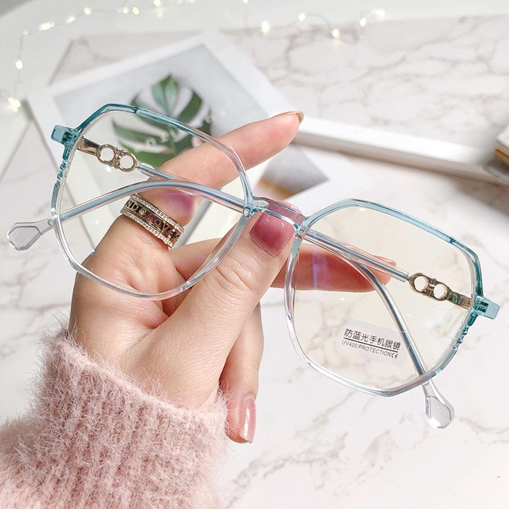 2021 New Arrived Big Frame Polygon Myopia Glasses Women Men Vintage Anti Blue Light Eyeglasses Stude