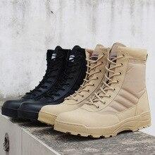 Botas militares para hombre, desierto, tácticas para exteriores, zapatillas de deporte transpirables para mujer, ropa antideslizante, botas de combate a la moda, 37-46