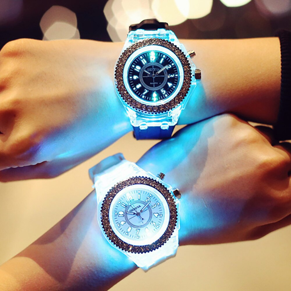 Geneva Led Flash Luminous Waterproof Watch Personality Lovers Jellies Woman Men'S Watches 7 Color Li