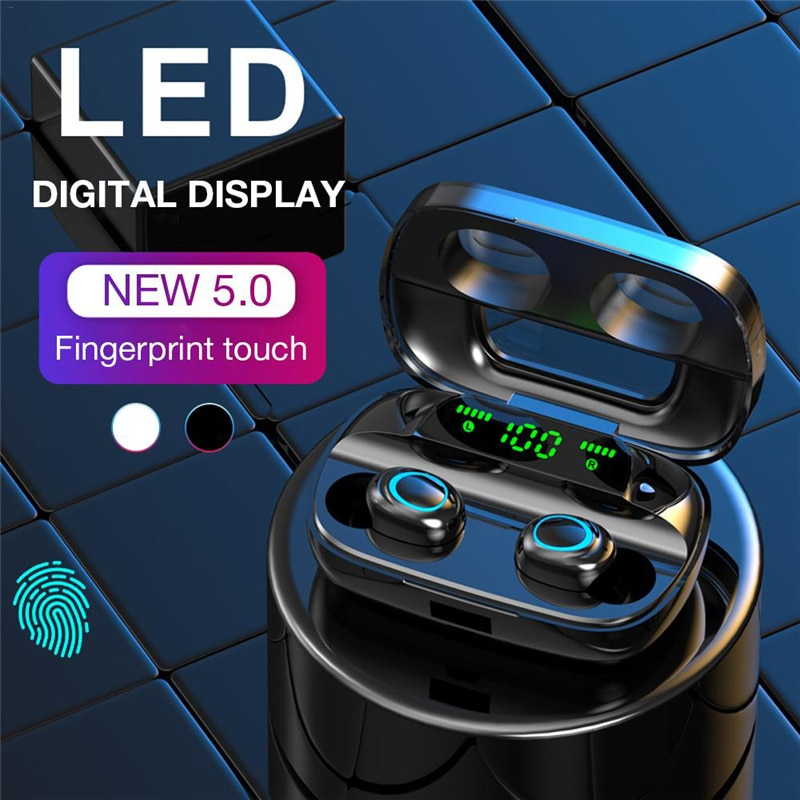 Auriculares Bluetooth táctiles auriculares inalámbricos con cancelación de ruido llamada HD TWS auriculares LED Bluetooth auriculares impermeables V5.0 TWS S11