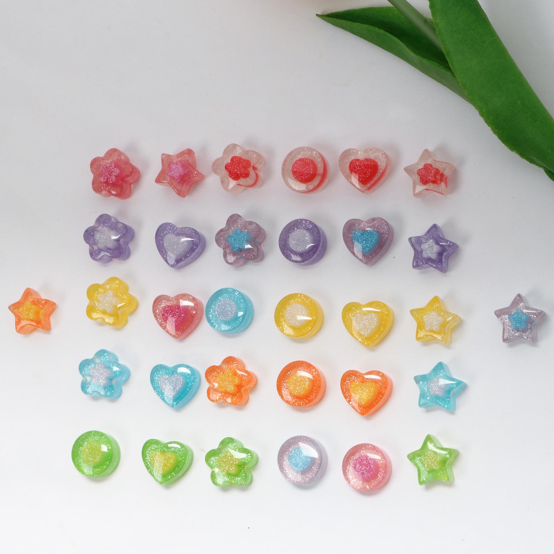 Pequena flor amor menina glitter resina cor de patch acessórios materiais DIY handmade hairpin jóias brincos do prego