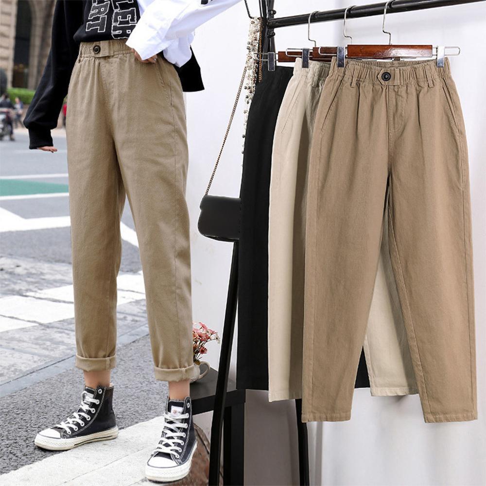 Bege de cintura alta calças casuais femininas soltas primavera outono 2019 novo coreano magro harem calças plus size nove calças 3xl #0126
