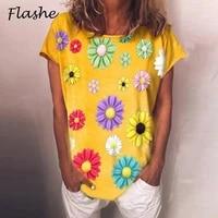 plus size women tops t shirt casual v neck daisy print short sleeve shirt lady pullovers top elegant women t shirt multicolor