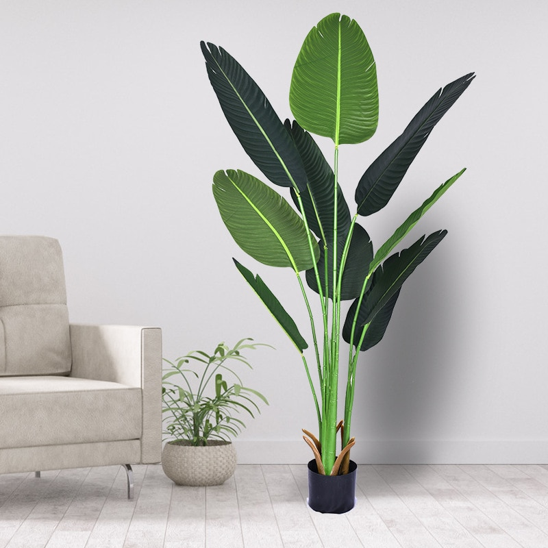 180cm Simulation Traveler Banana Artificial Plant Tree Indoor Outdoor Bird of Paradise Plant Decorative Potted Large Green Plant
