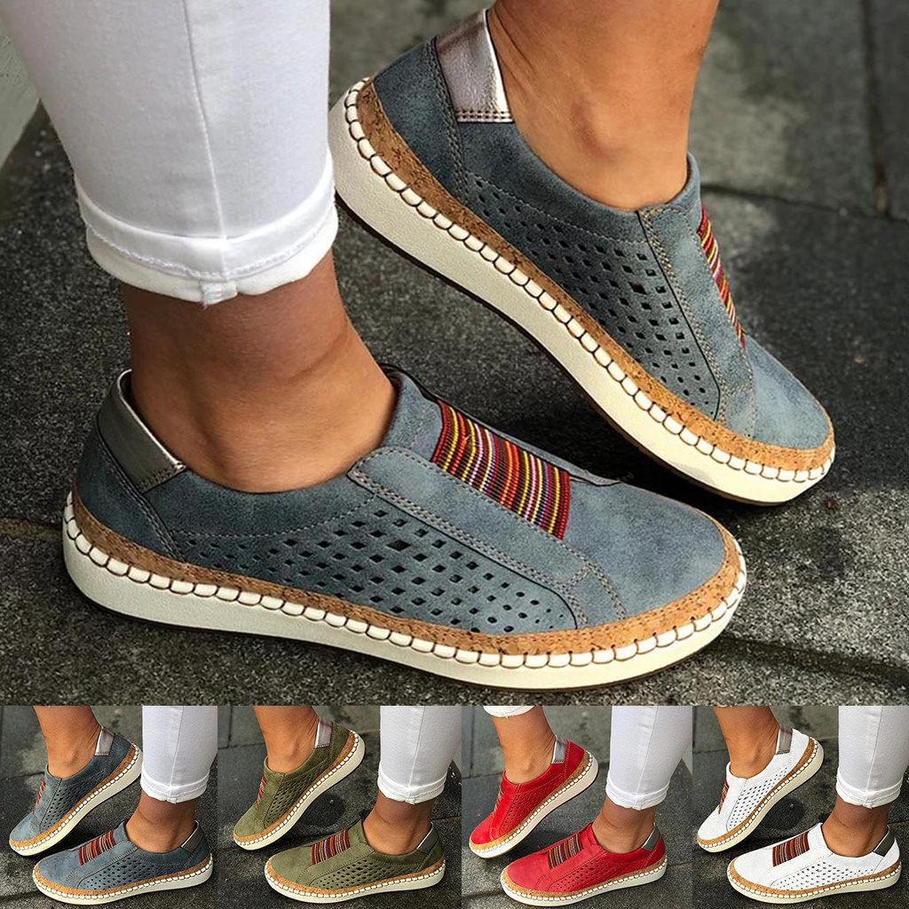 Deslizamento em Tênis Senhoras de Couro Oco para Fora Mulher Rasas Mocassins Sapatos Vulcanizados Respirável Casuais Femininos Apartamentos