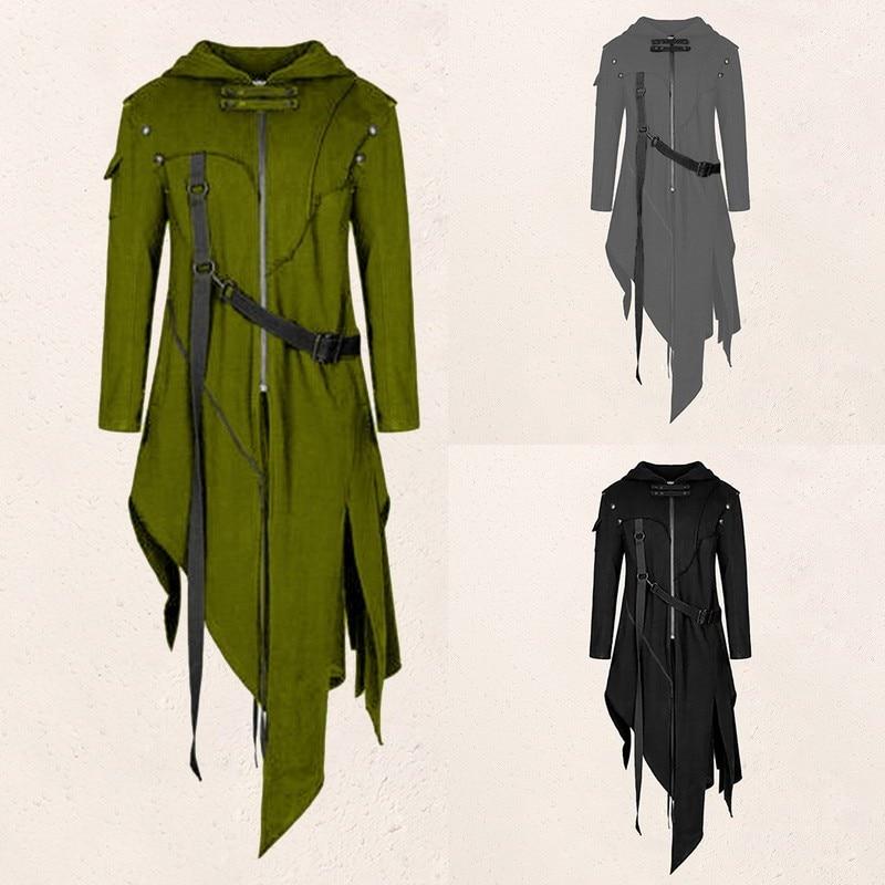 Пальто с поясом и рукавами в стиле панк осенние мужские стильные куртки винтажное пальто Новинка длинная Готическая форма на Хэллоуин с лас...