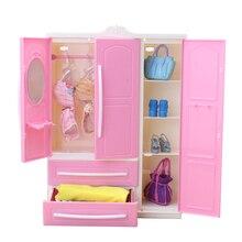 Poupée placard armoire vêtements organisateur pour fille poupée vêtements accessoires rangement pour vêtements de poupée, chaussures de poupée dans la garde-robe de poupée