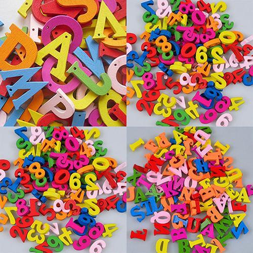 100 шт красочные буквы цифры деревянные плоские с задней стороны милые магниты на холодильник DIY украшения дома Детские Игрушки для раннего о...