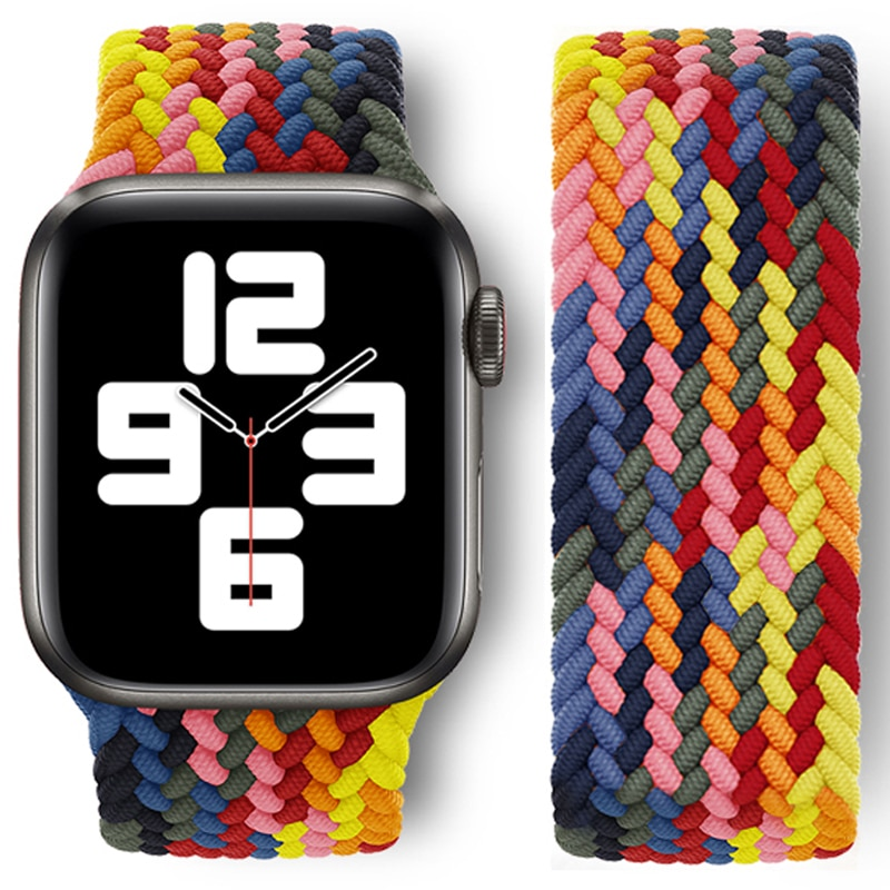1 1 offical strap for apple watch series 6 5 se 4 braided solo loop 40mm 44mm woven watchbands for iwatch 3 2 1 38mm 42mm strap Nylon Braided Solo Loop Strap for Apple Watch Band 38mm 40mm 42mm 44mm Sport Elastics Wristband for iWatch Series 6/5/4/3/2/1/SE