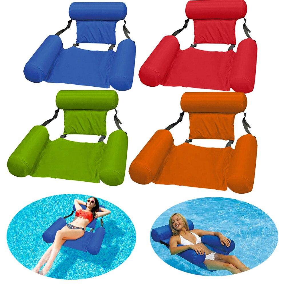 Cama flotante inflable de verano, plegable, para playa, piscina, hamaca flotante, silla de playa, tumbona
