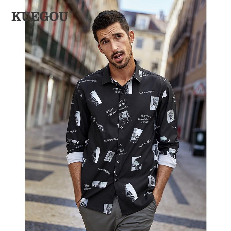 KUEGOU الربيع الخريف الرجال قمصان طويلة الأكمام أسود أزياء صالح سليم قميص الرجال تمتد الشارع الشهير أعلى زائد حجم CC-3280