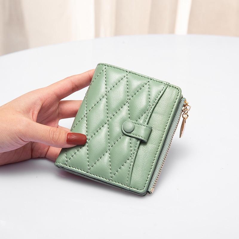 حقيقية محفظة جلدية 2021 السيدات حقيبة صغيرة المحفظة قصيرة رقيقة حافظة للبطاقات محفظة نسائية للعملات المعدنية