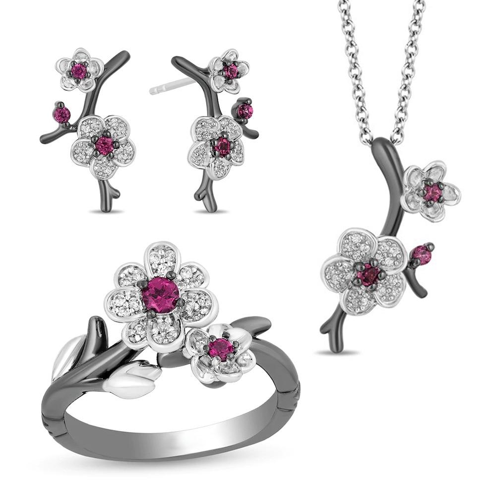 Luxo preto ouro cheio flor de ameixa conjuntos de jóias para as mulheres brilhando cristal requintado anel floral colar brincos conjunto