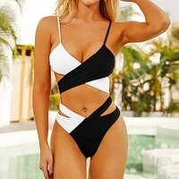 female sexy v neck cross strap bikinis set adjustable strappy leopard contrast color high waist two pieces surfing swimsuit