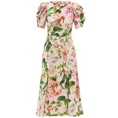 2020 vestido de diseñador de lujo de pasarela vestido de verano de mujer de manga corta rosa estampado Floral paquete nalgas vestido de fiesta