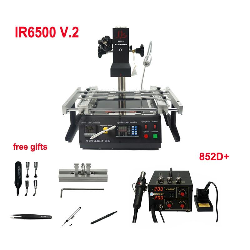 Estación de retrabajo infrarroja bga IR6500 + KADA 852D + SMD Reparación de soldador de estación con reballing jig