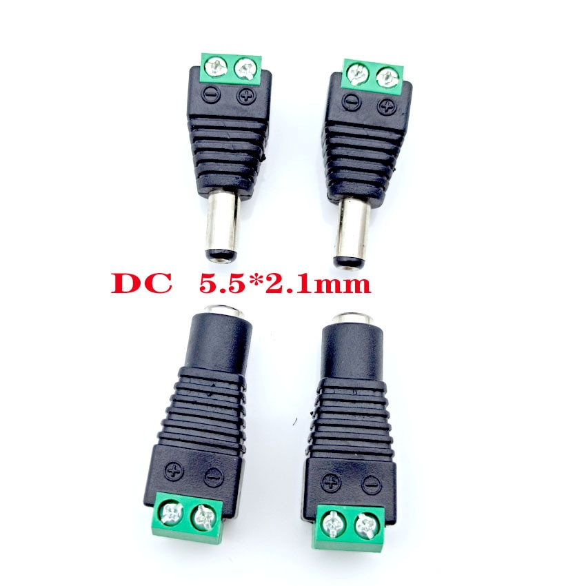10pair female male dc power jack connector crimp terminal blocks plug adapter for 2 pin 5050 3528 single color led strip wire 10PCS DC power plug connector 5.5*2.1mm Female Male Power Jack Adapter Plug Cable Connector for 3528/5050/5730 led strip light