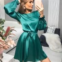 satin dress women elegant o neck flare sleeve straight belt waist bandage sheath party dress casual solid loose mini dress 2021