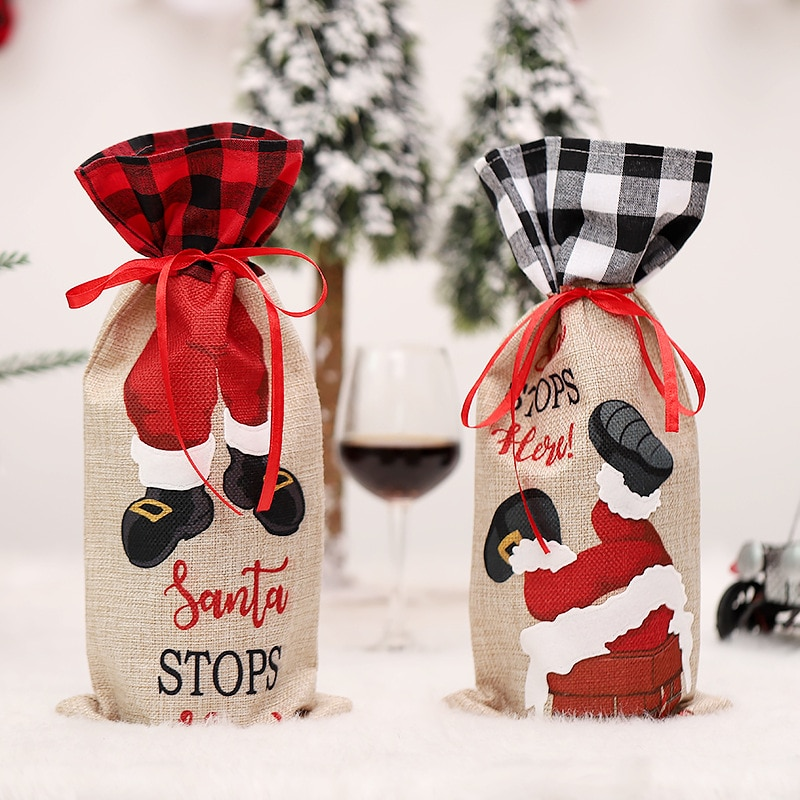 Christmas Wine Bottle Covers Bag Holiday Santa Claus Champagne Bottle Cover Red Merry Christmas Decorations for Home 2021 santa claus snowman elk christmas decorations wine bottle cover plaid linen bottle decoration champagne bottles topper bag