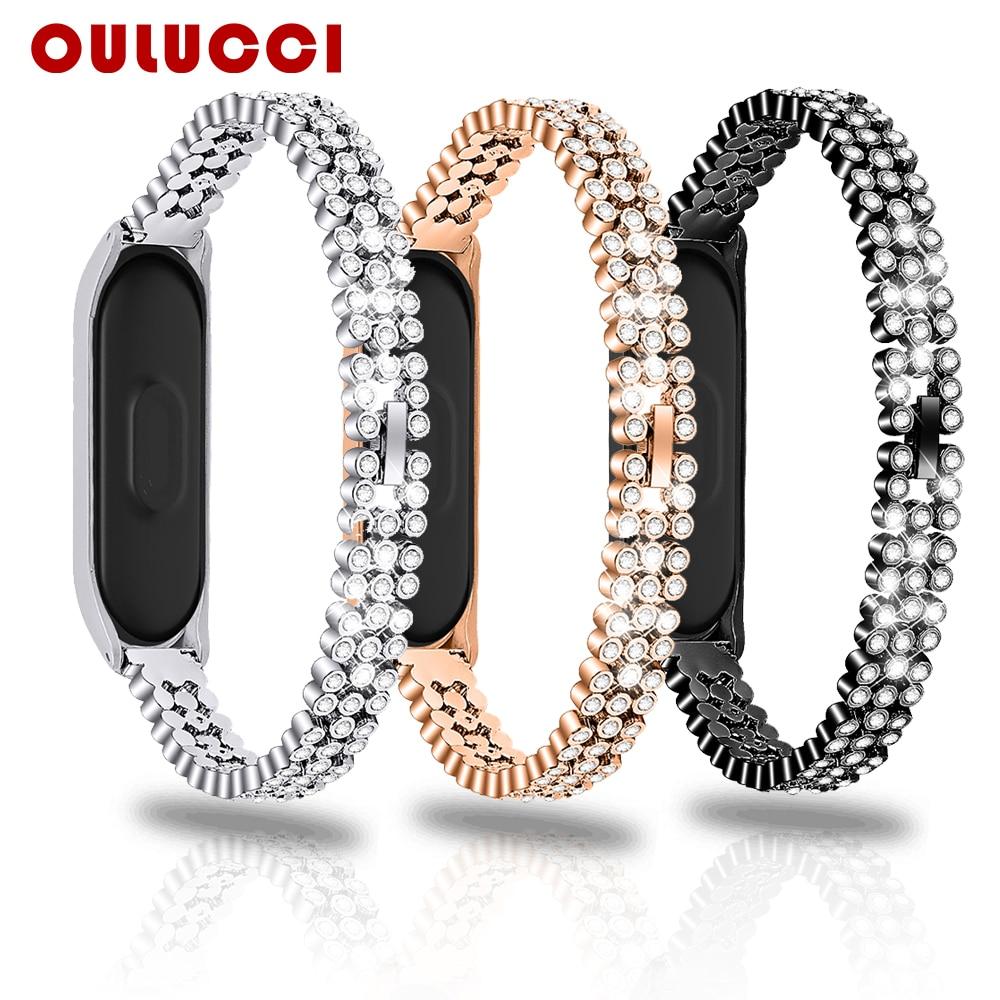 Oulucci mode acier inoxydable pour xiaomi 3/4 bracelet de remplacement bracelet bracelet en or Rose femmes pour mi bande 4 sangle