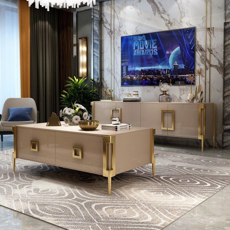 table basse nordique meuble tv unite ensemble salon simple lumiere luxe meuble tv table basse