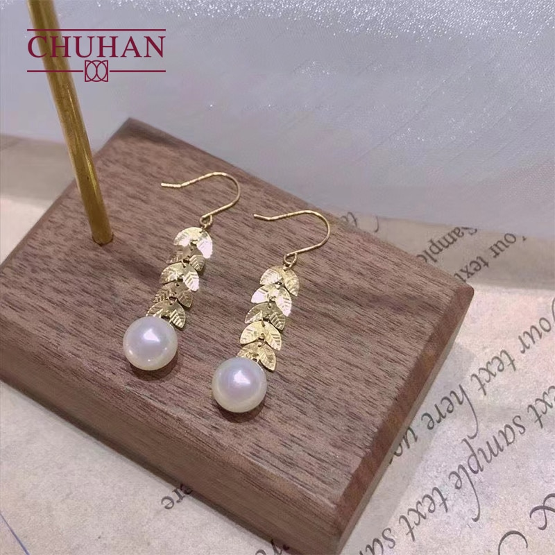 Review CHUHAN Real 18k Gold Natural Freshwater Pearl Drop Earrings Wheat Ears Shape Au750 Ear Hook Banquet Fine Jewelry For Woman Gifts