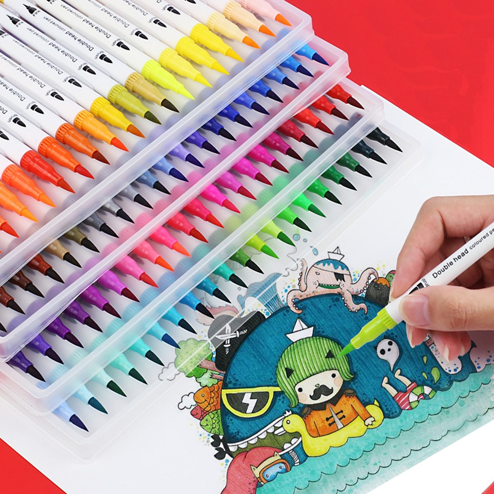 12/24/36/48/60 Colors Watercolor Pens FineLiner Dual Tip Brush Art Markers Pen For Drawing Painting Calligraphy Art Supplies недорого